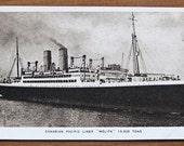 Vintage postcard, 1940s, Melita, original, Canadian Pacific Line, ship, collectible, paper ephemera, free shipping