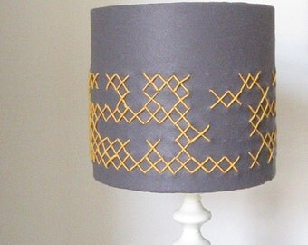 Grey Felt Lampshade With Yellow Hand Embroidered Crosses - 26cm Diameter (suits UK & European Light Fittings).