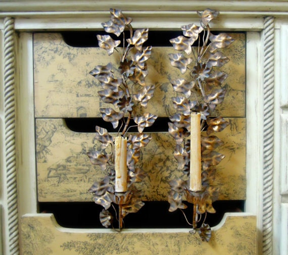 Italian Made Wall Sconces : Two Vintage Italian Tole Wall Sconce / Italian Florentine