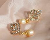 Wedding Earrings, Bridal Jewelry, Ivory Pearl Rhinestone Gold Earrings, Pearl Dangles, Bohemian Wedding, Bridesmaids Jewellery