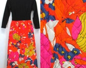 Queens Way Mod Quilted Maxi Dress Hostess Dress Bright Orange Pink Floral