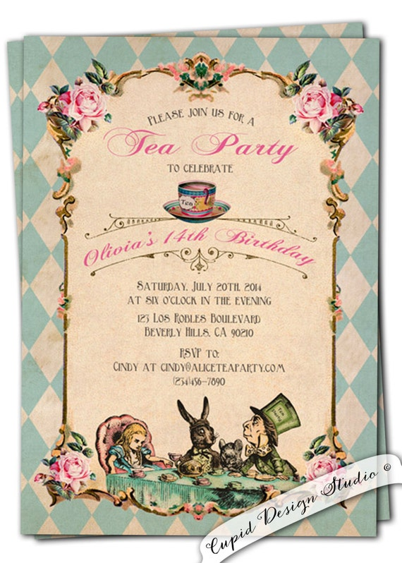 alice in wonderland invitation birthday baby bridal shower mad hatter