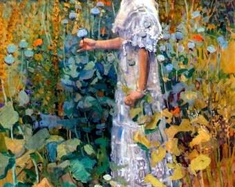 """Art by Jane Peterson (1876-1965) - """"Hollyhocks."""" -  Vintage Art, Story Book Art, Family Art, Children's Art"""