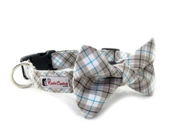 Grey, Black and Teal Tartan Dog Collar (Gray Plaid Dog Collar Only - Matching Bow Tie Sold Separately)