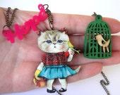 cat jewelry, persian cat, cat necklace, cat lady, cat lady jewelry, cat pendant, hope necklace, hope pendant, bird cat necklace