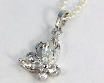 White Gold Filled Butterfly Necklace Crystal Butterfly Silver Charm Pendant Girls Women Jewelry Gift Butterflies