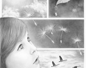 Through Innocent Eyes - 11x14 original pencil drawing - Free shipping
