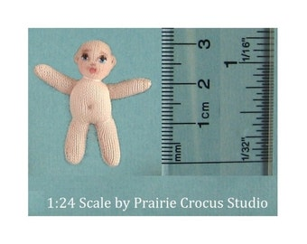 "1:24 scale soft tiny baby cloth doll with painted face. Miniature baby 3cm (1.25""). Dollhouse baby half inch scale."