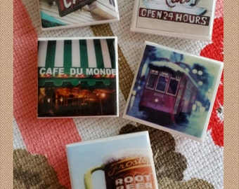 New Orleans, Magnets, Set of 5 Large Tile Magnets, New Orleans Images, wholesale, corporate gifts, wedding favors, Tourists, Travel, NOLA