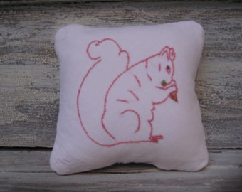 Vintage Squirrel Embroidery Pillow with Quilt Backing