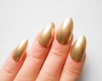 Gold Stiletto Nails / Fake Nails / Press on Nails / False Nails / Almond Nails / Nails