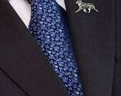 Australian Shepherd movement brooch - sterling silver