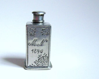VICTORIAN 1890 Hallmarked Zinn 95% Antique Pewter OTTOMAN EMPIRE Germany Engraved Mini Flacon Perfume Bottle Estate Edwardian Downton Abbey