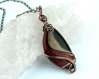 Mookaite Jasper Pendant, Semi Precious Stone, Wire Wrapped, Copper, Silver, Hematite, Dramatic Statement Piece, Handmade, Mahogany, Grey