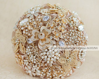 Crystal Brooch bouquet. Gold and Champagne wedding brooch bouquet, Jeweled Bouquet. Quinceanera keepsake bouquet