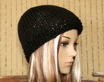 Knit Hat, Mens Womens Wool Beanie, Skull Cap, Ladies Hand Knit, Winter, Black School Beanie, Australia.