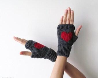 Knit Fingerless Gloves in Dark Grey, Dark Red Embroidered Heart, Heart Gloves, Fingerless Mittens, Arm Warmers, Wool Blend, Made to Order