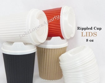 RIPPLE cup LIDS 8 oz Size - White Top/ Cover for Hot Beverage/ Cocoa/ Pasta/ Chili/ Apple Cider Ruffled Kraft cup Wooden Stamped Stir Sticks