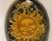 Steampunk Sun on black made from gears and watch parts handmade resin