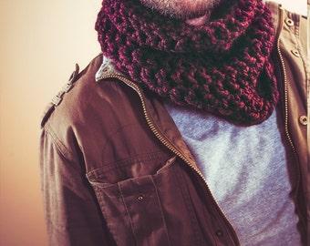 Merlot Handmade Cowl Scarf - Cozy Neck Warmer - Warm and Stylin - Bulky Knit - mens scarf - womens scarf - unisex
