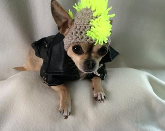 Punk rocker mohican dog hat /  Mohawk - for small breed chihuahua / yorkie  great  fancy dress costume