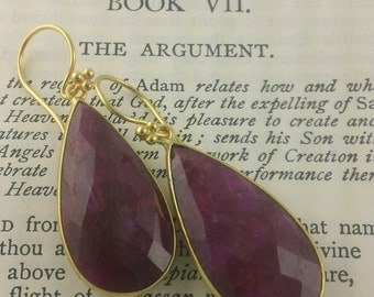 Rocking Raw Ruby Earrings Pear Shaped Pendants handcrafted in gold Vermeil
