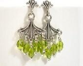 SALE - Green and Silver Earrings, Chandelier Earrings, 1.5 inch Dangle Earring