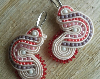 SALE Handmade soutache earrings. Vegan friendly.