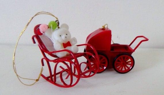 Vintage christmas ornaments flocked bear in red metal rocker