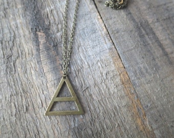 Long Antique Brass Triangle Necklace
