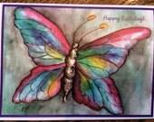 Butterfly birthday rainbow watercolor print card ( Item - WL22)
