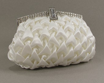 Bridal Clutch - Ivory Satin Evening Bag with Austrian Crystals - Ivory Satin Purse - Bridal Clutch - Wedding Purse - wedding dresses, Clutch