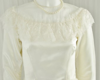 Early 20th Century 1930/40's satin and Lace Bridal Gown Wedding Dress with Button Back Medium Length Train