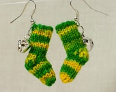 U of O Earring Knit Stockings / Yellow and Green / Football Spirit / Fan Gift Under 20