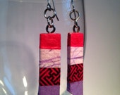 Pink Purple Striped Hanji Paper Earrings OOAK Dangle Earrings Patchwork Mauve Fuschia Swastika Handmade Hypoallergenic hooks Lightweight