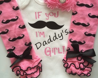 Baby girl Outfit--Father's Day Outfit--newborn baby--baby legwarmers--baby headband--mustache outfit--Daddys Girl Outfit--personalized baby