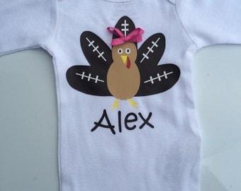 Girls Thanksgiving shirt - baby girls thanksgiving shirt- toddler girl thanksgiving shirt- football turkey