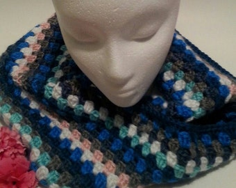 Ready to Ship Breezy Blues Aqua Multi Colored Crochet Cowl Scarf Neck Warmer Boho Hipster Fashion Accessory