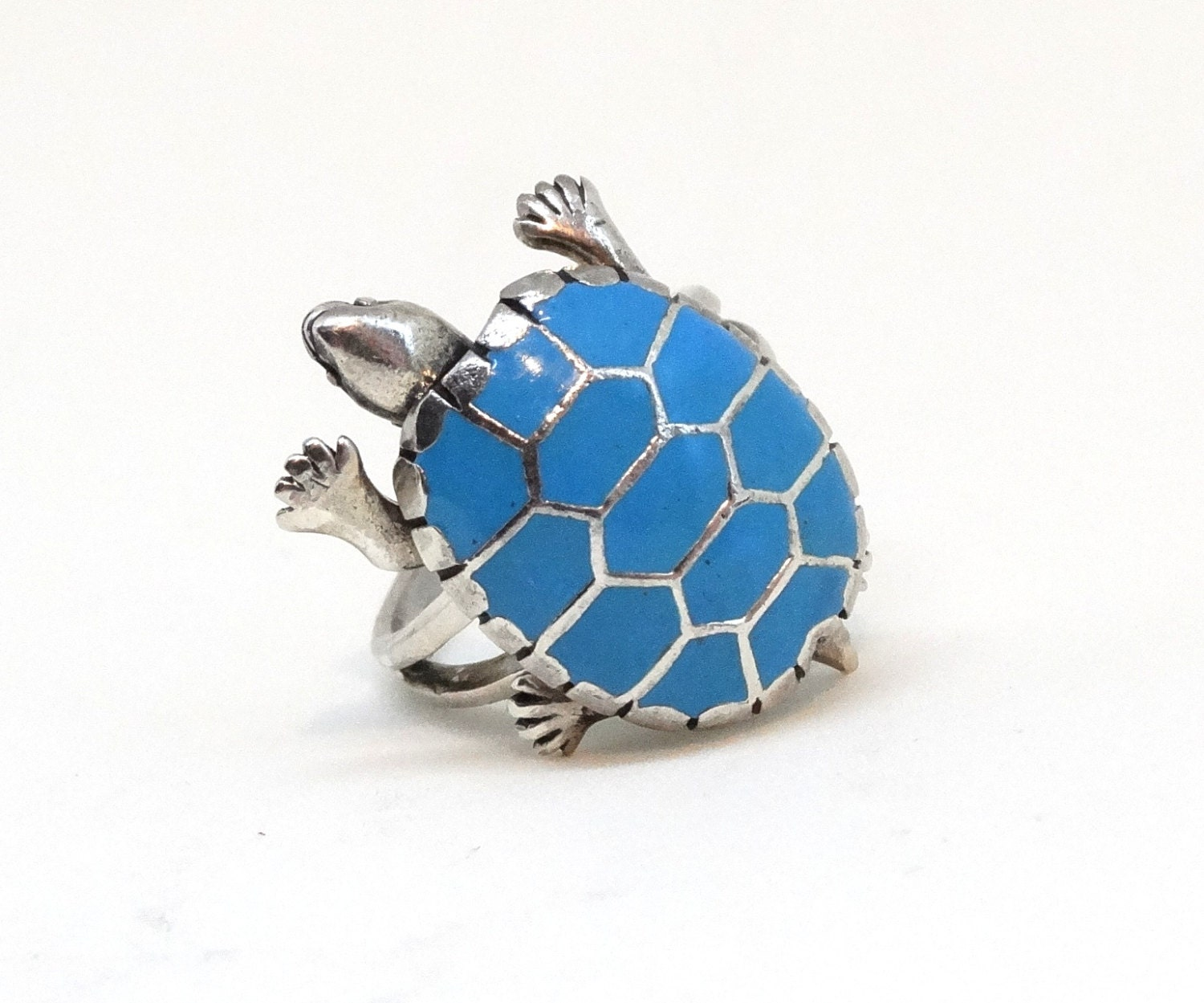 vintage turquoise turtle ring sterling silver articulated size