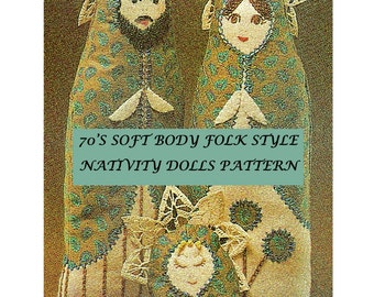 Digital Download Soft Body Nativity Folk Dolls Sewing Pattern - 70's Christmas Decor PDF Pattern File Craft Supplies Sewing Supplies