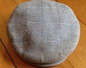 True Vintage 1920's French Flat Cap in Windowpane Wool - 7 1/4