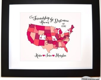 Best Friend Moving Long Distance Personalized Best Friend Gift, Moving Away Present Gift For Friend Love My Bestie Bff Three 3 Friends Maps