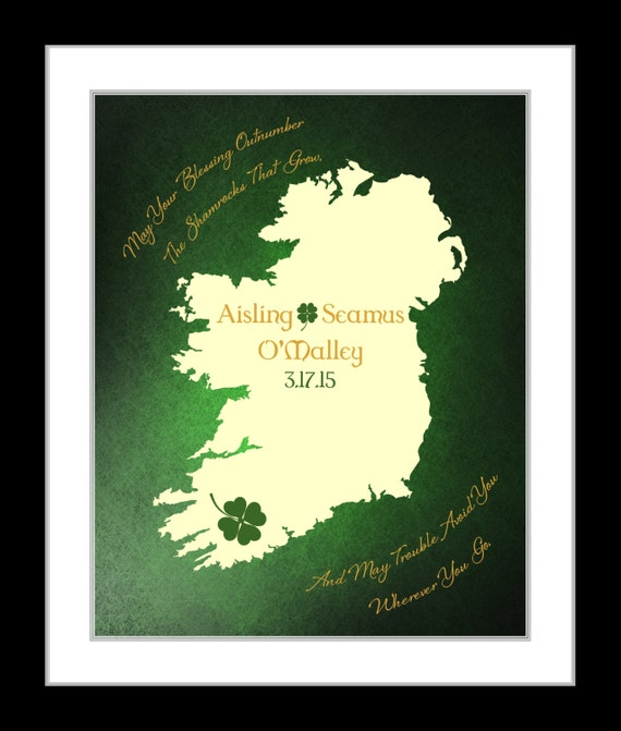 Unique Wedding Gifts Ireland : st patricks day wedding gift with irish blessing unique personalized ...