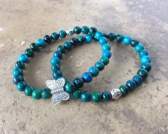 Butterfly bracelet set, blue green gemstone, butterfly jewelry, stacking