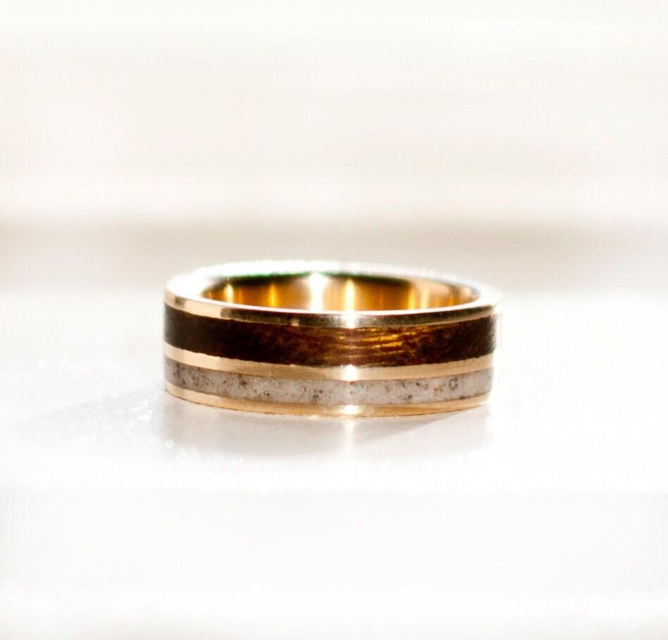 s wedding band 10k yellow gold wood antler ring