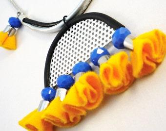 Bib Necklace - tribal jewelry - yellow felt necklace - tribal necklace -statement necklace - tassel necklace