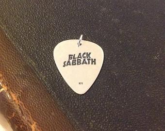 Black sabbath guitar pick, Silver guitar pick, Silver handmade guitar pick, Personalized guitar pick,Custom guitar pick,guitar pick necklace