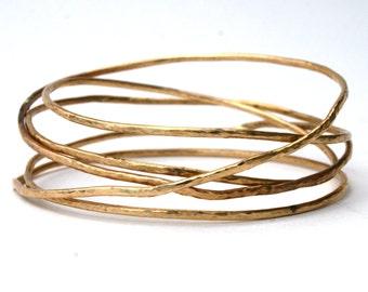 14K Gold Filled Hammered Stack of Bangles Bracelet, Gold Bangles