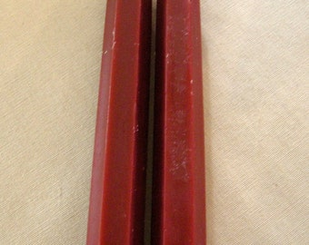 Pair Beeswax Hexagonal Cranberry Taper Candles Hand Crafted By The Beekeeper