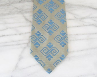 Vintage Green and Blue Geometric Mod Tie